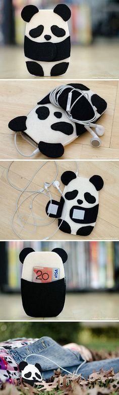 This is so cute! Panda mp3/ iPod case with a little pocket for money or anything small. And you wrap your ear buds up and Velcro the arms together for no more tangled messes!!