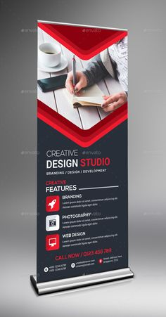 Roll-Up Banner in 1 - Graphic Hit Graphic Design Brochure, Graphic Design Tips, Web Design, Banner Vertical, Exhibition Banners, Rollup Banner Design, Flyer Design, Branding Design, Trade Show Design