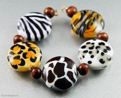 Tiger Handmade Lampwork Beads SINGLE Slim Spree by LoriBergmann, $10.50