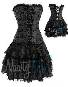Sexy Black Gothic Lolita Corset Petticoat Skirt Holiday Costume Set s 2XL | eBay