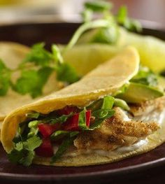 Low Calorie, Healthy Weight Loss Diet Meal: Grilled Fish Tacos With Chipotle-Lime Dressing Recipe. This recipe is sooooo delicious. Less calories and a LOT more protein. Grilling Recipes, Seafood Recipes, Mexican Food Recipes, Cooking Recipes, Grilling Ideas, Tilapia Recipes, Cooking Tips, Chipotle Lime Dressing Recipe, Low Calorie Recipes