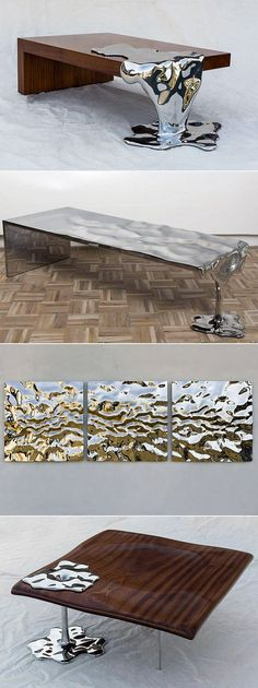 Love these tables! Artist Rado Kirov Manipulates Stainless Steel to Resemble Dripping Mercury in Furniture Collection. Art Furniture, Unique Furniture, Furniture Design, Contemporary Furniture, Outdoor Furniture, Furniture Buyers, Furniture Market, Furniture Online, Furniture Companies