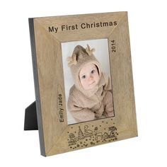 Celebrate your child's first Christmas with this personalised photo frame.  Available portrait or landscape and in 4x6 or 5x7. Freepost