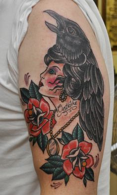 Raven Tattoos for Women | Neo Traditional Raven Tattoo Traditional lady head and