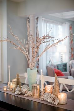 christmas table scape decor silver gold
