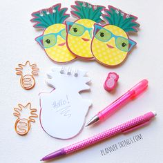 Pineapple paperclips, notepad, pens, eraser at http://plannerthings.com