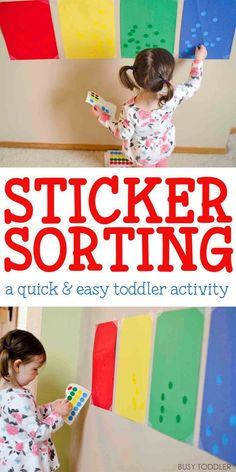 Sorting Activity Sticker Sorting Activity: A quick and easy toddler activity!Sticker Sorting Activity: A quick and easy toddler activity! Fun Indoor Activities, Toddler Learning Activities, Sorting Activities, Infant Activities, Kids Learning, Toddler Color Learning, Childcare Activities, Summer Activities, Family Activities