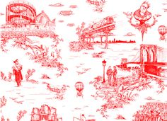 Brooklyn Toile Wallpaper designed by Mike D, one of my musical heros of another era. Who doesn't want an illo of the old Cyclone splashed all over their walls? Yes!