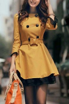 Sweet mustard yellow coat over dress