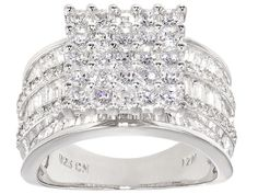 Bella Luce (R) 5.89ctw Rhodium Over Sterling Silver Ring (3.97ctw Dew)