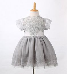 Girls Kid Baby Princess Dresses New Children Flower Party Clothing Lace  Gray Pink White Floral Tulle Tutu Dress Girl Summer 6e7b7bdcd150