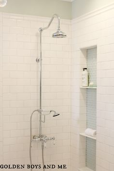 master bath white subway tile, glass tile shower niche, exposed shower - www.goldenboysandme.com