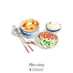 Mắm chưng #LeRin Vietnamese Cuisine, Vietnamese Recipes, Food Graphic Design, Food Design, Food N, Food And Drink, Cute Food, Yummy Food, Food Sketch