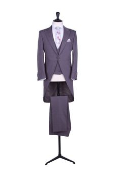 Grooms light grey slim fit tailcoat with matching double breasted waistcoat