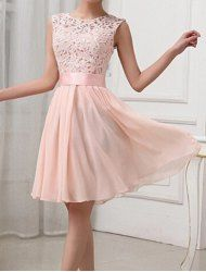 Sexy Round Collar Sleeveless Spliced Hollow Out Club Dress For Women (LIGHT PINK,2XL) | Sammydress.com Mobile