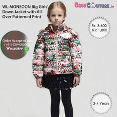 WL-MONSOON Big Girls' Down Jacket with All Over Patterned Print