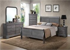 5Pc Queen Bedroom Set, Classic Louis Phillipe styling for this 5Pc king bedroom set constructed of hardwoods and done in a beautiful and supple medium grey finish. It is sure to g