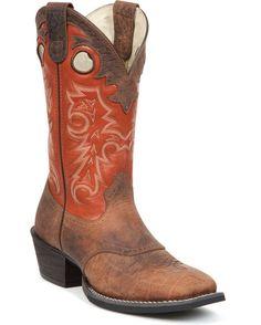 """Men's 12"""" Western Buckaroo Saddle Boots - Nicotine"""