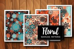 Collection of 4 floral seamless patterns. All swatches are seamless and…