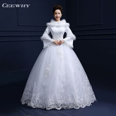 38786225666 White Full Sleeves Feathers Embroidery Tiered Winter Wedding Dress 2017  Floor Length Ball Gown Bridal Gowns Vestidos de Novia-in Wedding Dresses  from ...