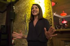 LONDON, ENGLAND - AUGUST 11:  Labour party leadership candidate Liz Kendall takes part in a Q&A session at a pub in Battersea on August 11, 2015 in London, England. Ms Kendall who is running for the position of the leader of the Labour party answered ques