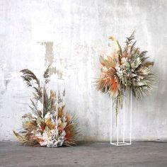 Wedding Ceremony Decorations, Flower Decorations, Wedding Centerpieces, Metal Flowers, Dried Flowers, Floral Wedding, Wedding Flowers, Modern Wedding Inspiration, Flower Stands