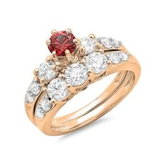 Wedding Ring Set ($1,419) ❤ liked on Polyvore featuring jewelry, rings, rose, wedding jewelry, wedding band engagement ring, rose engagement ring, rose wedding ring and round cut rings