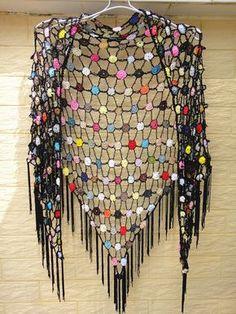 Black Fringe Triangle Crochet Shawl Polka Dot by TinaCrochet2016