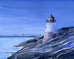 Castle Hill Lighthouse & Pell Bridge. Romantic by BellaTerraArt