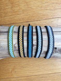 Bracelet en perles miyuki mates tissées, ferme avec un cordon en nylon ajustable et réglable en fonction de la taille de votre poignet. Résistant à leau et robuste et confortable, il ne gène pas dans la pratique sportive. Possibilité de commander dautres couleurs (bleu-marine,