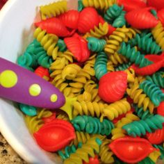 Pasta: Different Shapes, Different Colors (Food Coloring) and Fun Forks