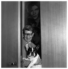 YSL and Moujik.note the Warhol of YSL behind him. Ysl, Piet Mondrian, Christian Dior, Yves Saint Laurent, Paris, Saints, Shark, Vogue, Black And White