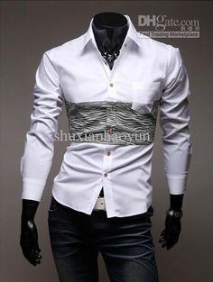 Men's shirts Korean Men's Casual Slim shirts fashion Men's long sleeve Shirts black white