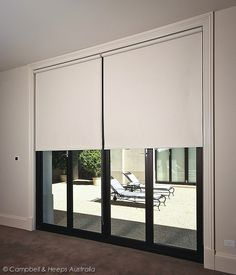 Australian Made cream roller blinds! Block out fabrics- Chain operated over bifold doors