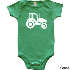 New, original collection celebrating farm animals. This cotton shirt is perfect for your mini tractor lover, desgined with a white tractor silhouette. Choose from three bodysuit colors. Both the shirt