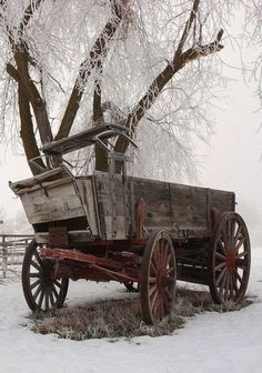 """We had a wagon like this on our farm growing up. My brother and I played in our """"wagon train"""" wagon all the time. Good Memories for sure! Snow Scenes, Winter Scenes, Vieux Wagons, Hirsch Illustration, Wooden Wagon, Old Wagons, Into The West, Country Scenes, Down On The Farm"""
