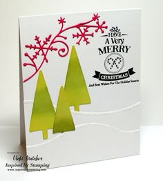 Inspired By Stamping, Vicki Dutcher, Holiday Sentiments stamp set, Holiday card, CAS Christmas card, Christmas card