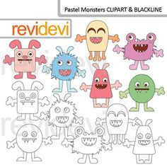 Cute monsters clip art in pastel colors. Blackline (outline white and black) is included in this set. Pastel monsters (code: 07614). Clipart resource for creating teachers pay teachers materials.This digital clipart set is great for teachers author seller.