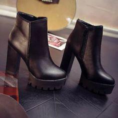 Women Autumn Platform High Heel Ankle Boots Fashion Faux Leather Shoes Black