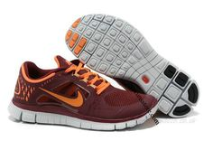 Cheap Nike Free Run 3 Men's Running Shoes Wine Red/Total Orange-White RS-181