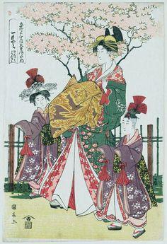 """""""Hitomoto of the Daimonjiya in Kyô-machi itchôme, kamuro Senkaku and Banki"""" by Utagawa Kuninaga, 19th century"""