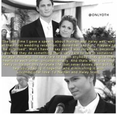 Lucas Naley Wedding / One Tree Hill / Nathan Haley, Lucas Scott, Tv Show Quotes, Movie Quotes, Notting Hill Quotes, People Always Leave, One Tree Hill Quotes, Best Man Speech, Chad Michael Murray