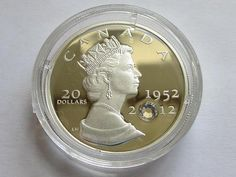 2012 $20 Canadian The Queen's Diamond Jubilee Silver Proof Coin with Crystal