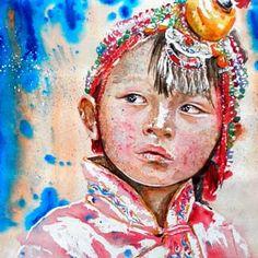 Preview Niña china de gala Acuarela Watercolor www.adanjcespedes.com