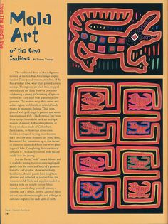 Article: Mola Art of the Kuna Indians Easy Art For Kids, 6th Grade Art, Arts Integration, Art Lessons Elementary, Elements Of Art, Art Classroom, Art Club, Folk, Art Activities