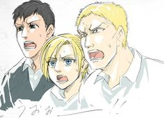 Bertholdt Hoover | Annie Leonhardt | Reiner Braun | I wonder what made them shocked | SNK/AOT
