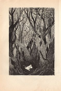 Moomin illustration by Tove Jansson Tove Jansson, Tinta China, Children's Book Illustration, Gravure, Printmaking, Cool Art, Images, Drawings, Trees