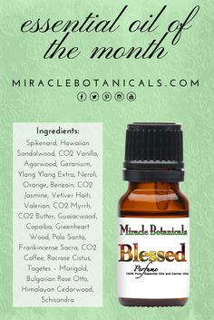 ESSENTIAL OIL OF THE MONTH: Blessed Perfume is a luxurious alchemy of 24 different essential oils in a base of Schisandra. #wellnessadvocate #holistichealth #reiki #aromatherapy #essentialoils #wellness #consciousliving #energyhealing #chakrabalancing #herbalism #lightworker #namaste #botanicals #therapeutic #blessings #diffuserblend #crystals #chakras #spiritualtools #reikihealing #meditation #mindfulness #naturalmedicine #positiveenergy
