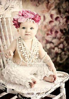 Baby girl's flower crown corona halo pearls ❀Flower ❀ Girls❀