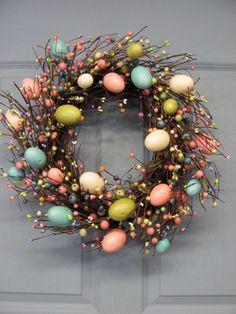 Spring Wreath Easter Wreath Pastel Spring EGG by Designawreath